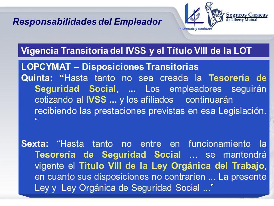 Prestaciones Dinerarias Tesorería de Seguridad Social Subrogación por parte de Tesorería de Seguridad Social de la Responsabilidad Objetiva del emplea