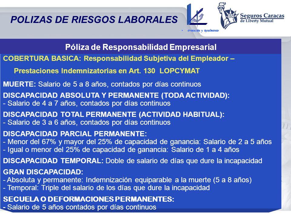 Póliza de Responsabilidad Empresarial POLIZAS DE RIESGOS LABORALES Protección y Rendimiento