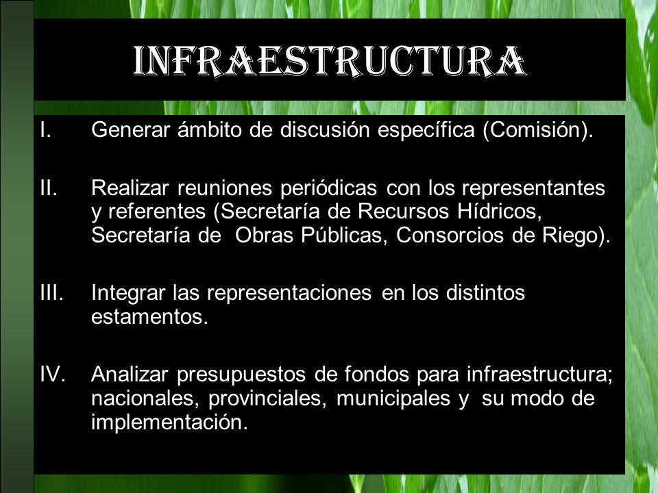 infraestructura I.Generar ámbito de discusión específica (Comisión). II.Realizar reuniones periódicas con los representantes y referentes (Secretaría