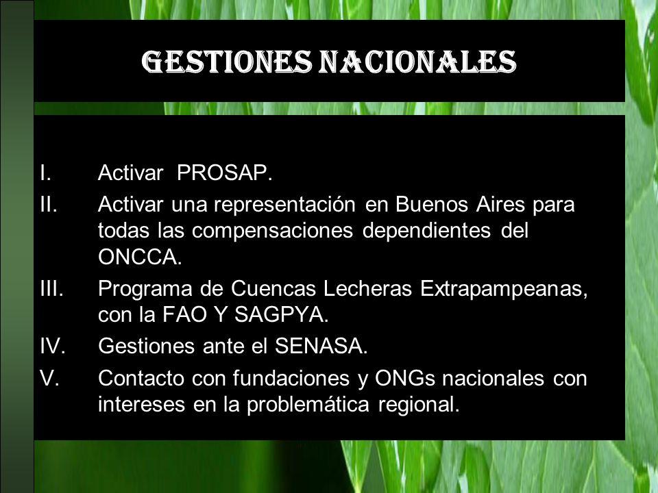GESTIONES NACIONALES Activar PRODERNOA. I.Activar PROSAP. II.Activar una representación en Buenos Aires para todas las compensaciones dependientes del