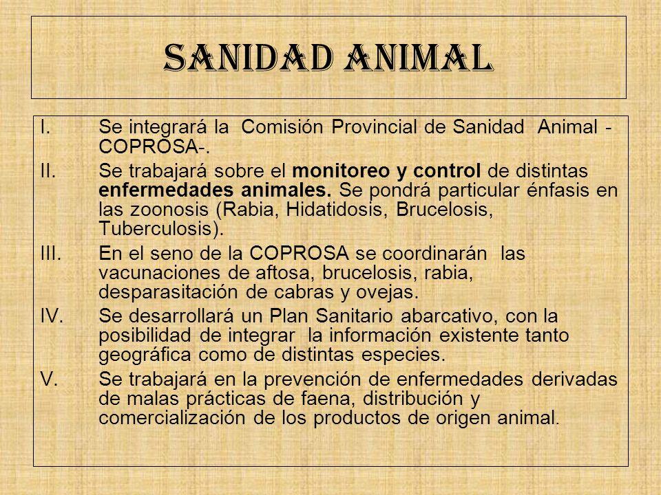 SANIDAD ANIMAL I.Se integrará la Comisión Provincial de Sanidad Animal - COPROSA-. II.Se trabajará sobre el monitoreo y control de distintas enfermeda