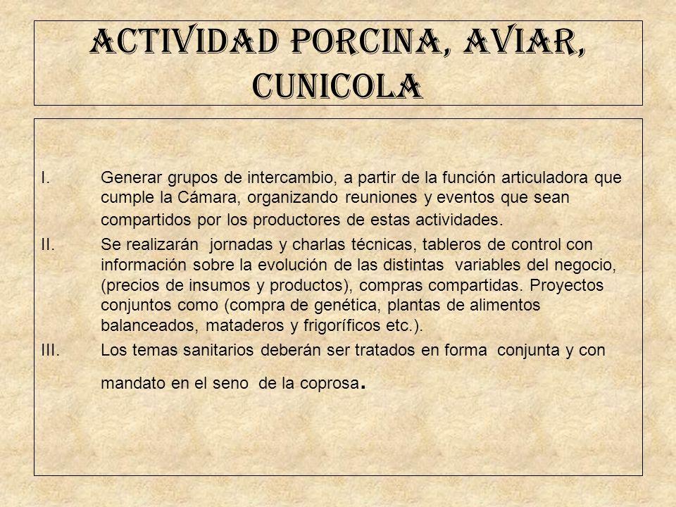 ACTIVIDAD PORCINA, AVIAR, CUNICOLA I.Generar grupos de intercambio, a partir de la función articuladora que cumple la Cámara, organizando reuniones y
