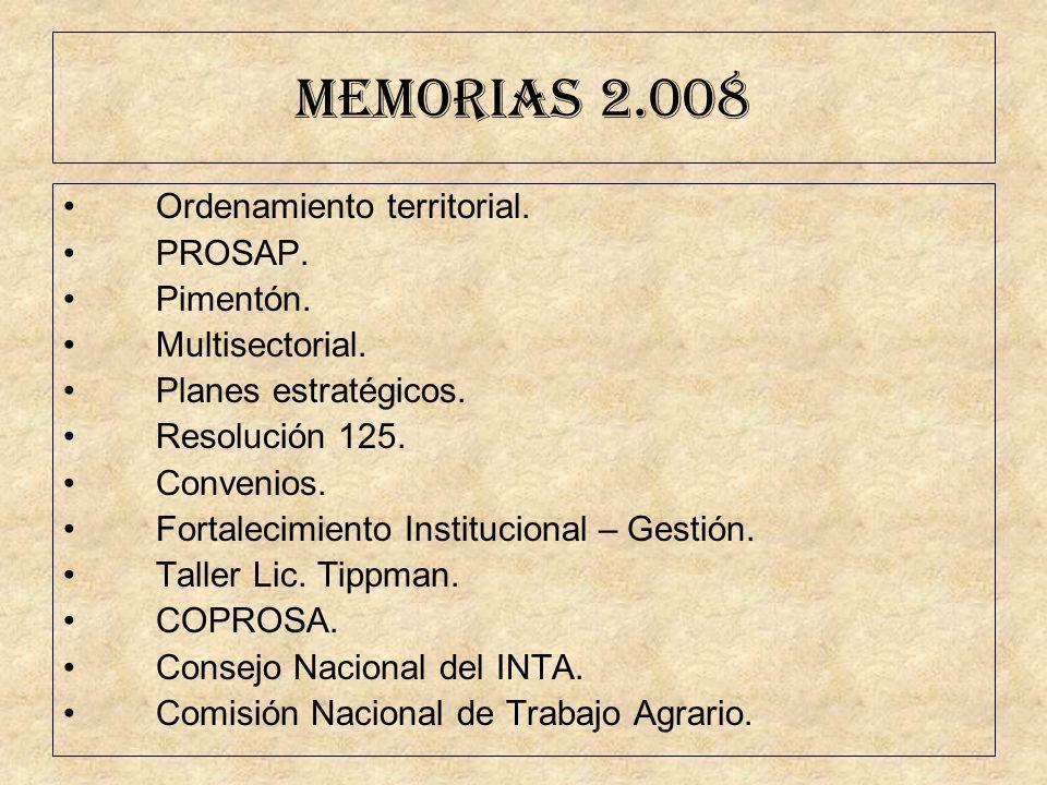 MEMORIAS 2.008 Ordenamiento territorial. PROSAP. Pimentón. Multisectorial. Planes estratégicos. Resolución 125. Convenios. Fortalecimiento Institucion