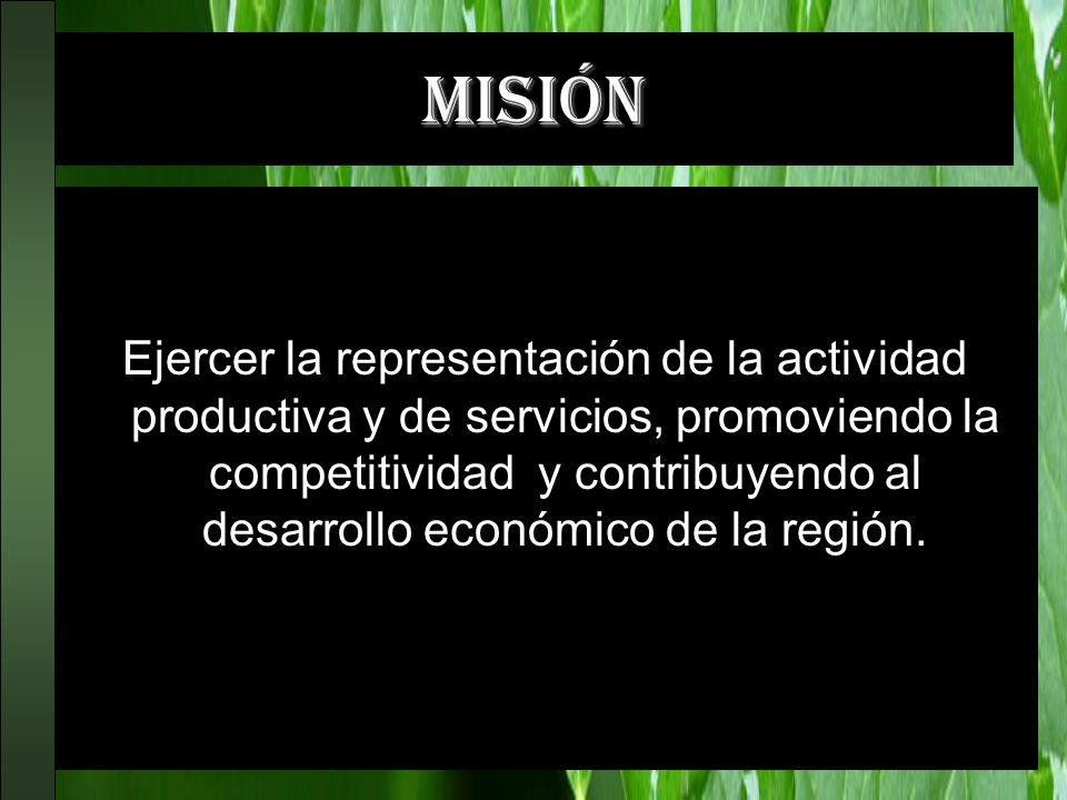 misión Ejercer la representación de la actividad productiva y de servicios, promoviendo la competitividad y contribuyendo al desarrollo económico de l
