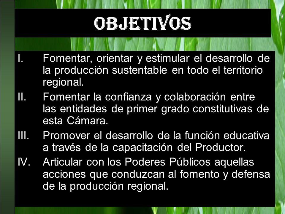 OBJETIVOS I.Fomentar, orientar y estimular el desarrollo de la producción sustentable en todo el territorio regional. II.Fomentar la confianza y colab