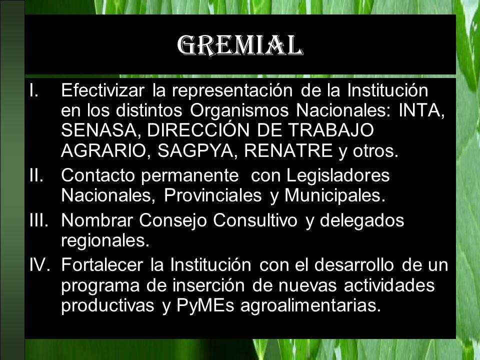 gremial I.Efectivizar la representación de la Institución en los distintos Organismos Nacionales: INTA, SENASA, DIRECCIÓN DE TRABAJO AGRARIO, SAGPYA,