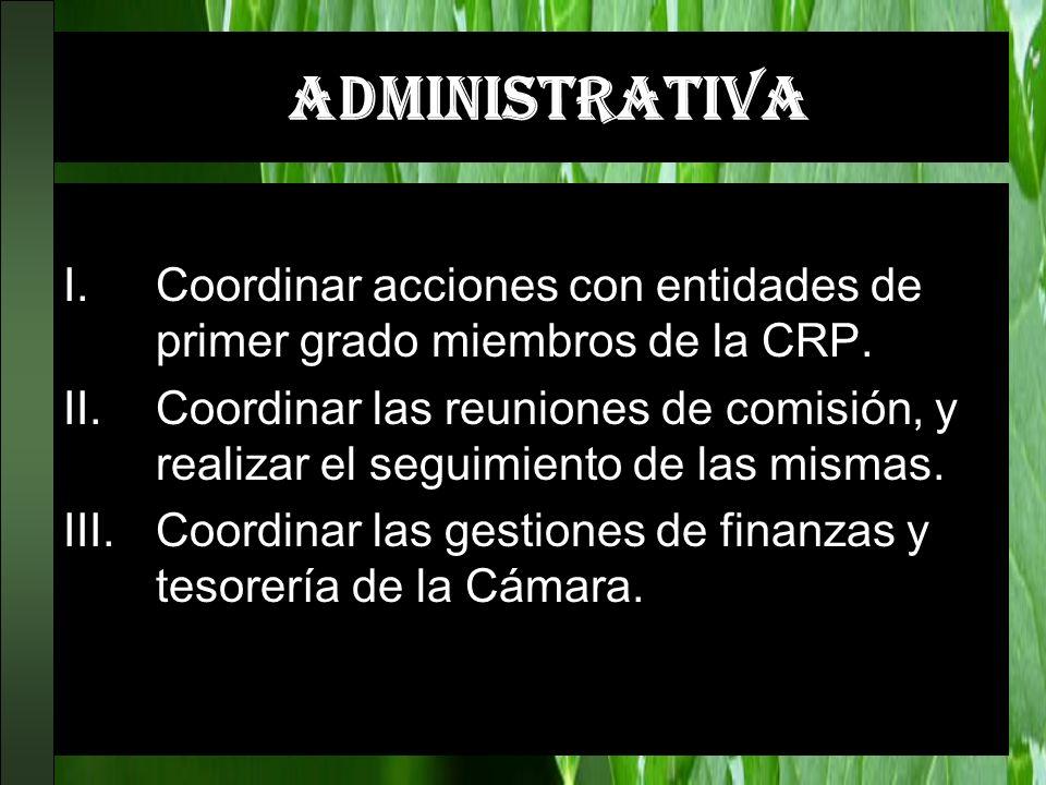 ADMINISTRATIVA I.Coordinar acciones con entidades de primer grado miembros de la CRP. II.Coordinar las reuniones de comisión, y realizar el seguimient