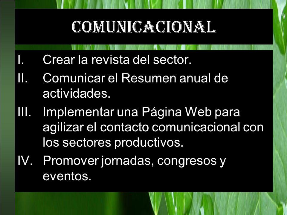 comunicacional I.Crear la revista del sector. II.Comunicar el Resumen anual de actividades. III.Implementar una Página Web para agilizar el contacto c