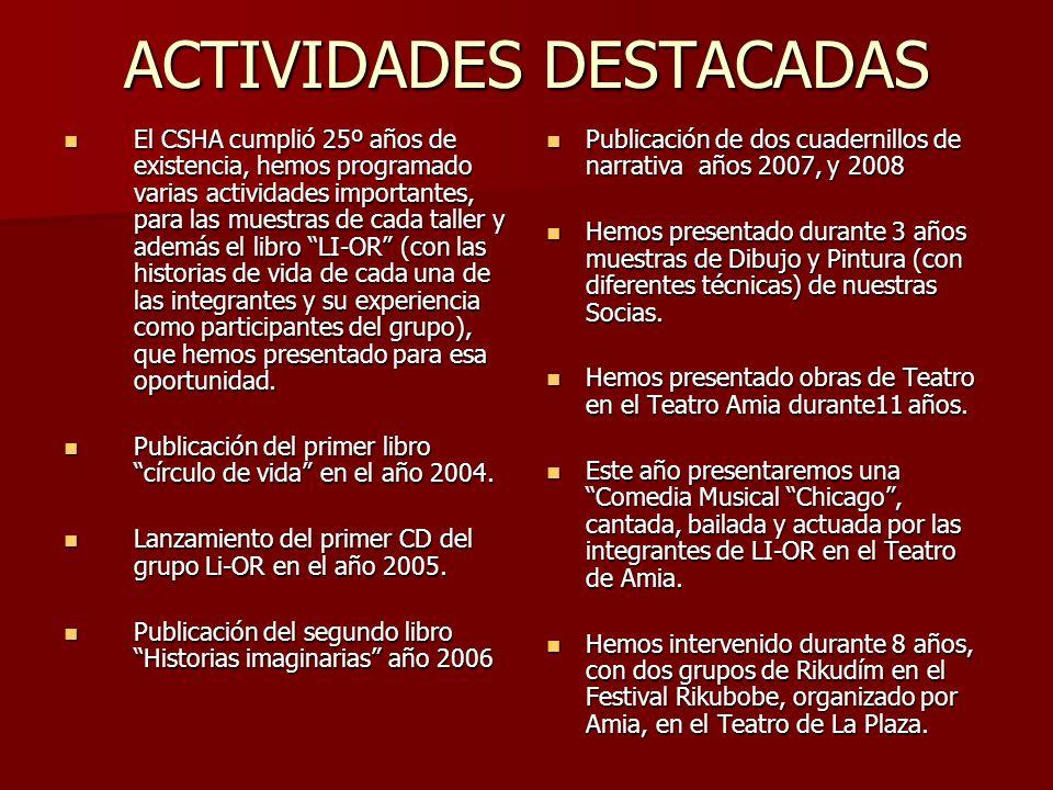 ACTIVIDADES DESTACADAS El CSHA cumplió 25º años de existencia, hemos programado varias actividades importantes, para las muestras de cada taller y ade