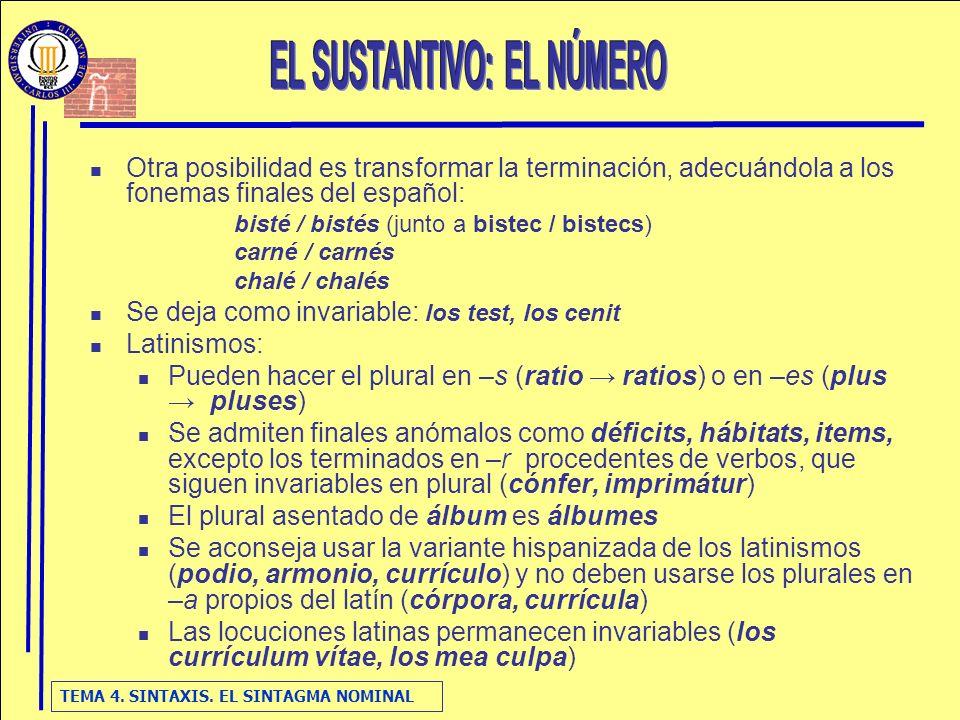 TEMA 4. SINTAXIS. EL SINTAGMA NOMINAL Otra posibilidad es transformar la terminación, adecuándola a los fonemas finales del español: bisté / bistés (j