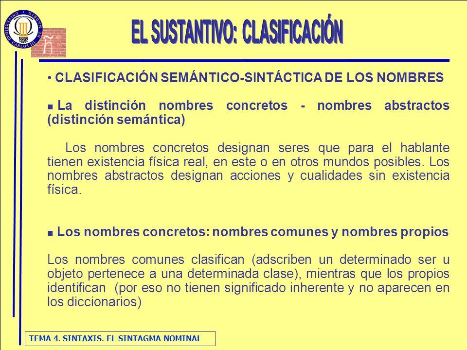 TEMA 4. SINTAXIS. EL SINTAGMA NOMINAL CLASIFICACIÓN SEMÁNTICO-SINTÁCTICA DE LOS NOMBRES La distinción nombres concretos - nombres abstractos (distinci