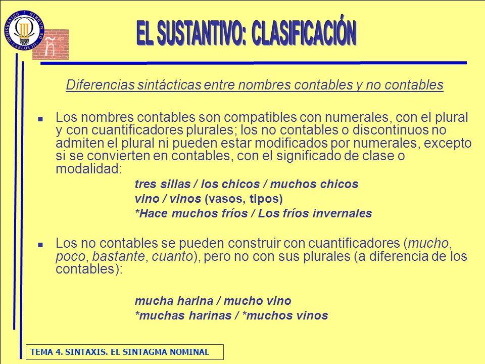 TEMA 4. SINTAXIS. EL SINTAGMA NOMINAL Diferencias sintácticas entre nombres contables y no contables Los nombres contables son compatibles con numeral