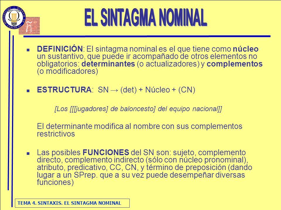 TEMA 4. SINTAXIS. EL SINTAGMA NOMINAL DEFINICIÓN: El sintagma nominal es el que tiene como núcleo un sustantivo, que puede ir acompañado de otros elem