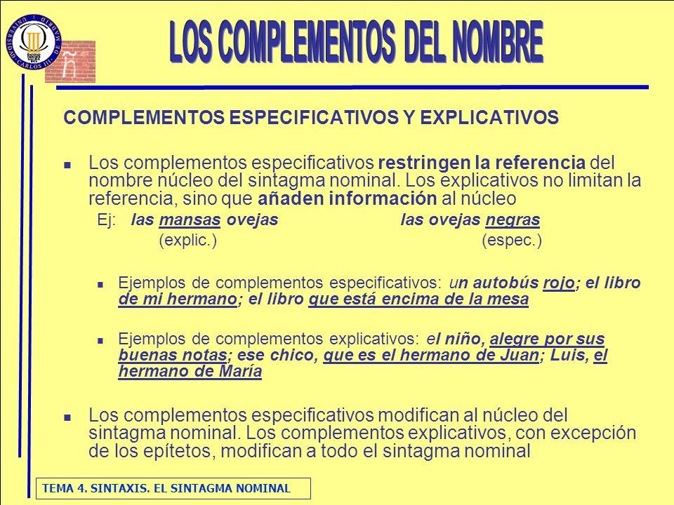 TEMA 4. SINTAXIS. EL SINTAGMA NOMINAL COMPLEMENTOS ESPECIFICATIVOS Y EXPLICATIVOS Los complementos especificativos restringen la referencia del nombre