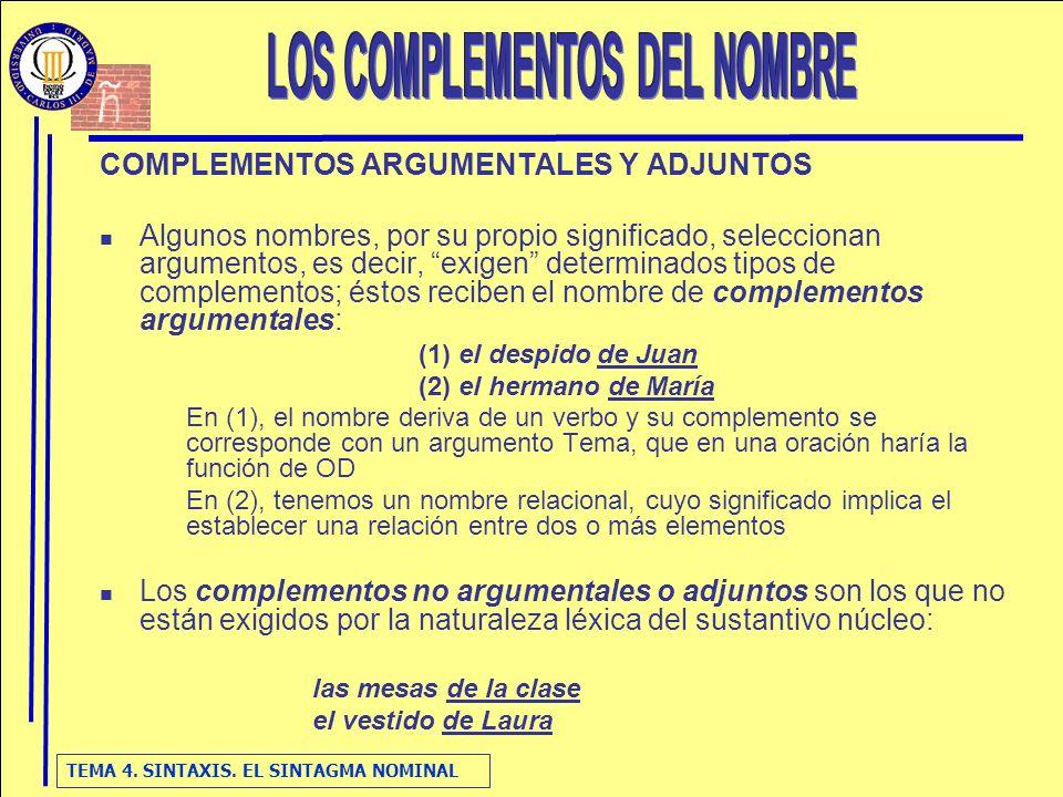 TEMA 4. SINTAXIS. EL SINTAGMA NOMINAL COMPLEMENTOS ARGUMENTALES Y ADJUNTOS Algunos nombres, por su propio significado, seleccionan argumentos, es deci