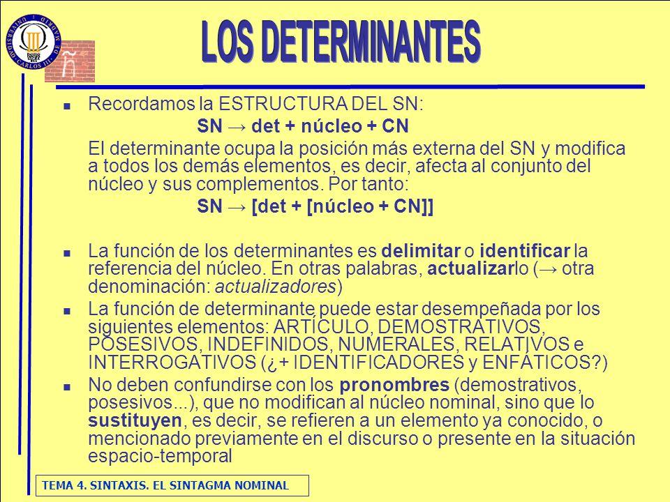 TEMA 4. SINTAXIS. EL SINTAGMA NOMINAL Recordamos la ESTRUCTURA DEL SN: SN det + núcleo + CN El determinante ocupa la posición más externa del SN y mod