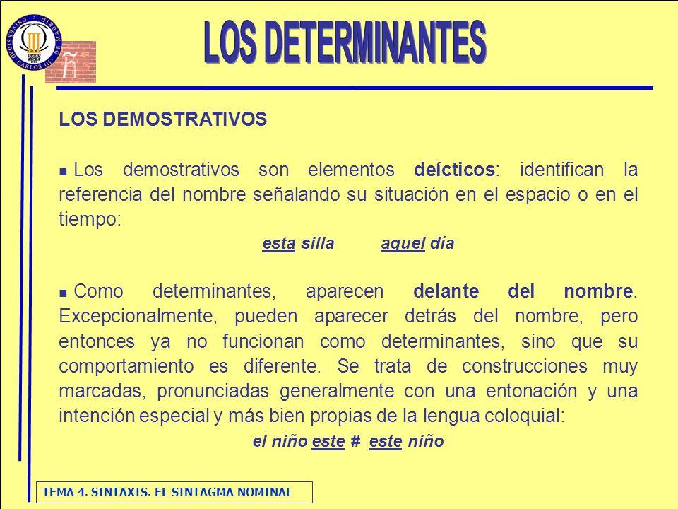 TEMA 4. SINTAXIS. EL SINTAGMA NOMINAL LOS DEMOSTRATIVOS Los demostrativos son elementos deícticos: identifican la referencia del nombre señalando su s