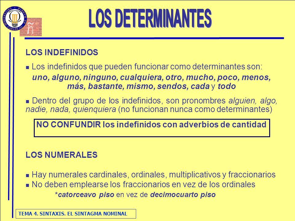 TEMA 4. SINTAXIS. EL SINTAGMA NOMINAL LOS INDEFINIDOS Los indefinidos que pueden funcionar como determinantes son: uno, alguno, ninguno, cualquiera, o