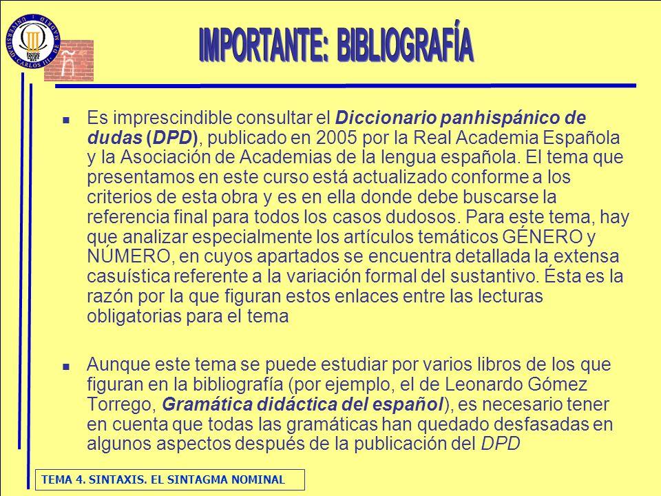 TEMA 4. SINTAXIS. EL SINTAGMA NOMINAL Es imprescindible consultar el Diccionario panhispánico de dudas (DPD), publicado en 2005 por la Real Academia E