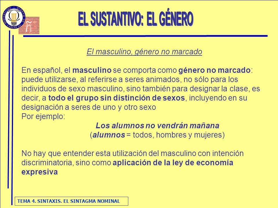 TEMA 4. SINTAXIS. EL SINTAGMA NOMINAL El masculino, género no marcado En español, el masculino se comporta como género no marcado: puede utilizarse, a