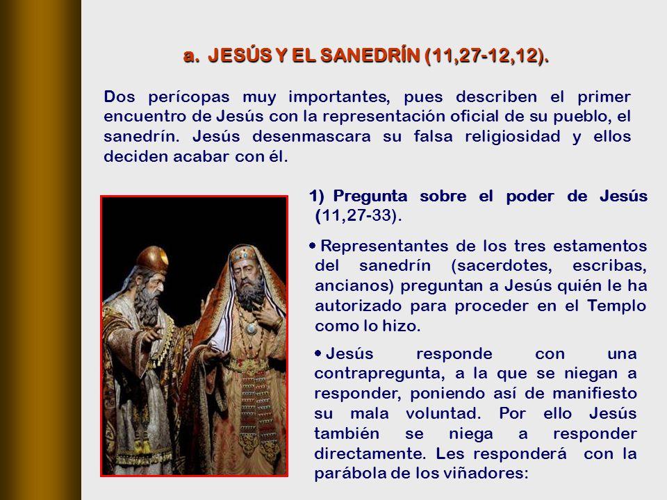 Dos perícopas muy importantes, pues describen el primer encuentro de Jesús con la representación oficial de su pueblo, el sanedrín.