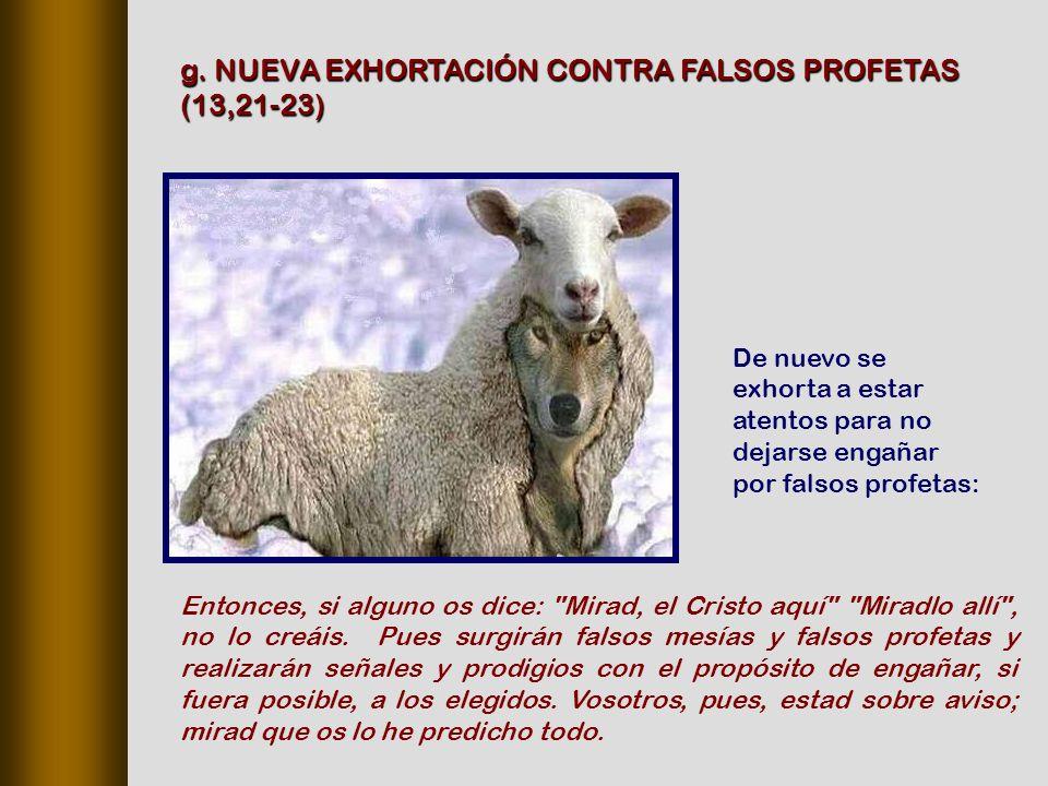 De nuevo se exhorta a estar atentos para no dejarse engañar por falsos profetas: g.