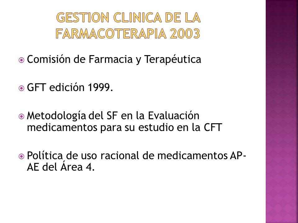 Comisión de Farmacia y Terapéutica GFT edición 1999. Metodología del SF en la Evaluación medicamentos para su estudio en la CFT Política de uso racion
