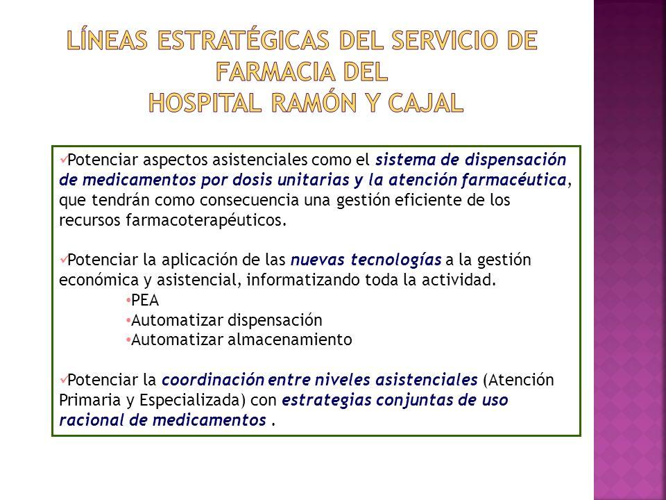 Potenciar aspectos asistenciales como el sistema de dispensación de medicamentos por dosis unitarias y la atención farmacéutica, que tendrán como cons