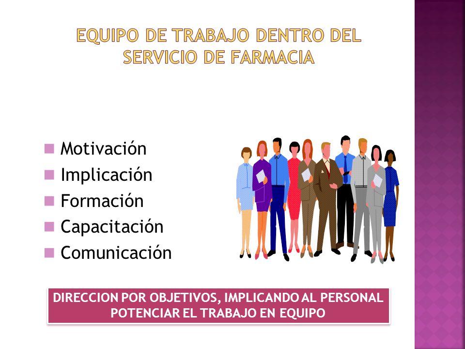 Motivación Implicación Formación Capacitación Comunicación DIRECCION POR OBJETIVOS, IMPLICANDO AL PERSONAL POTENCIAR EL TRABAJO EN EQUIPO DIRECCION PO