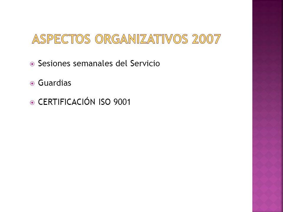 Sesiones semanales del Servicio Guardias CERTIFICACIÓN ISO 9001