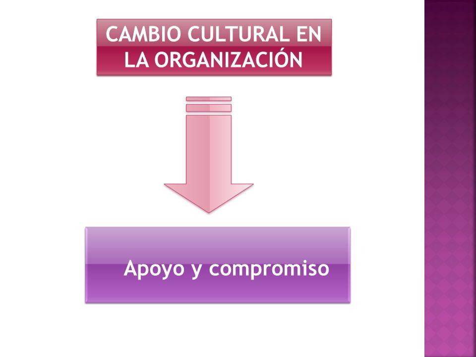 CAMBIO CULTURAL EN LA ORGANIZACIÓN Apoyo y compromiso