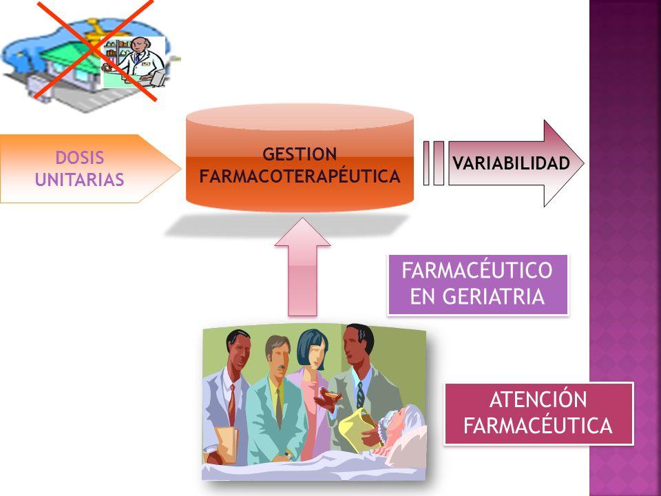 DOSIS UNITARIAS VARIABILIDAD ATENCIÓN FARMACÉUTICA GESTION FARMACOTERAPÉUTICA FARMACÉUTICO EN GERIATRIA