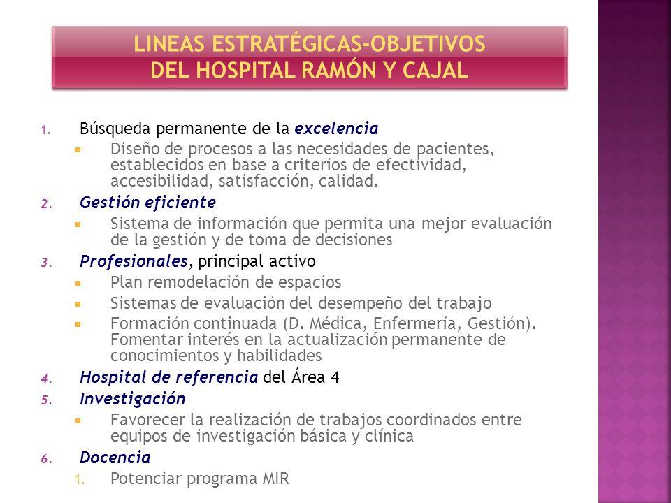 1. Búsqueda permanente de la excelencia Diseño de procesos a las necesidades de pacientes, establecidos en base a criterios de efectividad, accesibili