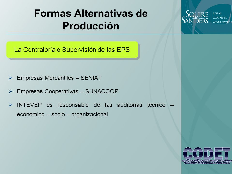 Formas Alternativas de Producción Empresas Mercantiles – SENIAT Empresas Cooperativas – SUNACOOP INTEVEP es responsable de las auditorias técnico – ec