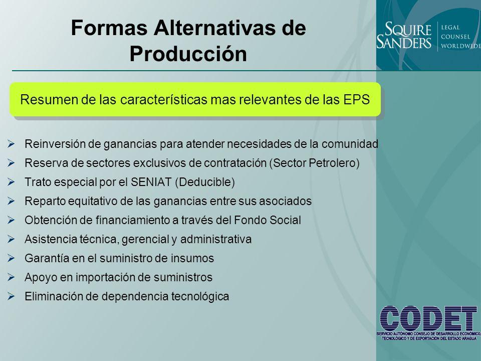 Formas Alternativas de Producción Reinversión de ganancias para atender necesidades de la comunidad Reserva de sectores exclusivos de contratación (Se