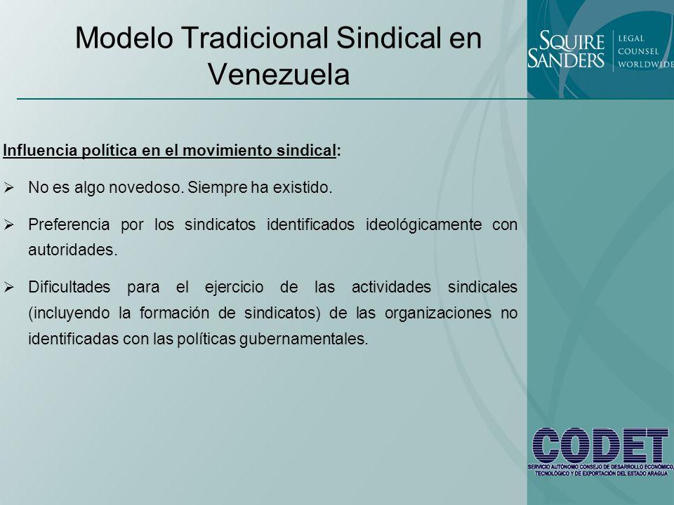 Modelo Tradicional Sindical en Venezuela Influencia política en el movimiento sindical: No es algo novedoso. Siempre ha existido. Preferencia por los