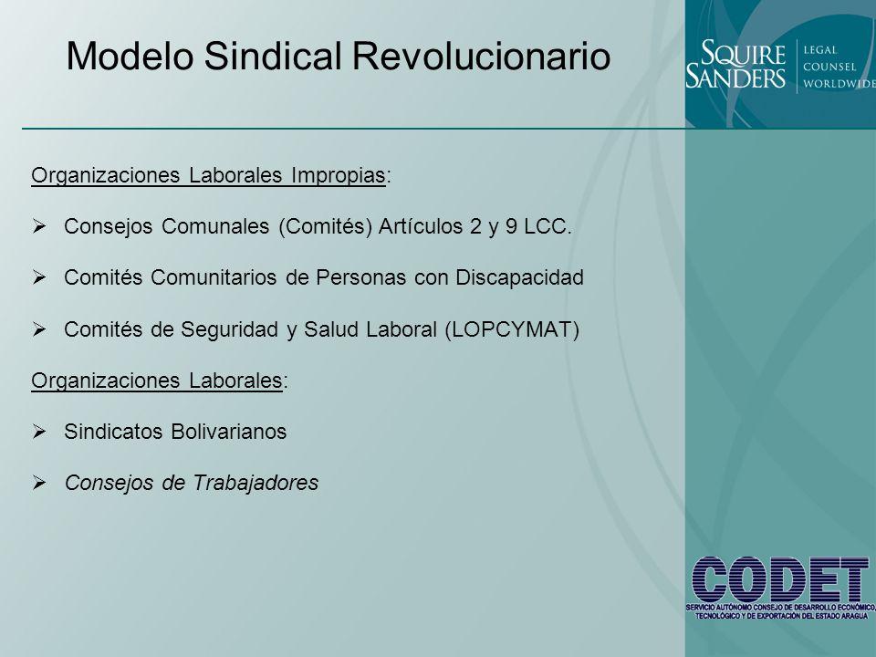 Modelo Sindical Revolucionario Organizaciones Laborales Impropias: Consejos Comunales (Comités) Artículos 2 y 9 LCC. Comités Comunitarios de Personas