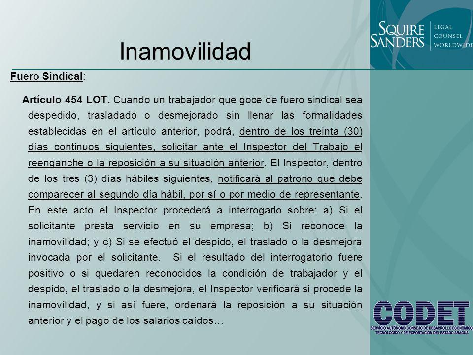 Inamovilidad Fuero Sindical: Artículo 454 LOT. Cuando un trabajador que goce de fuero sindical sea despedido, trasladado o desmejorado sin llenar las