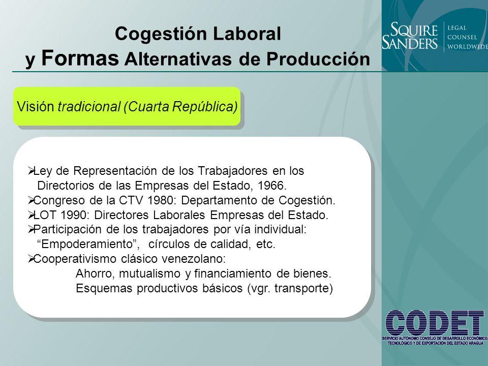 Cogestión Laboral y Formas Alternativas de Producción Visión tradicional (Cuarta República) Ley de Representación de los Trabajadores en los Directori