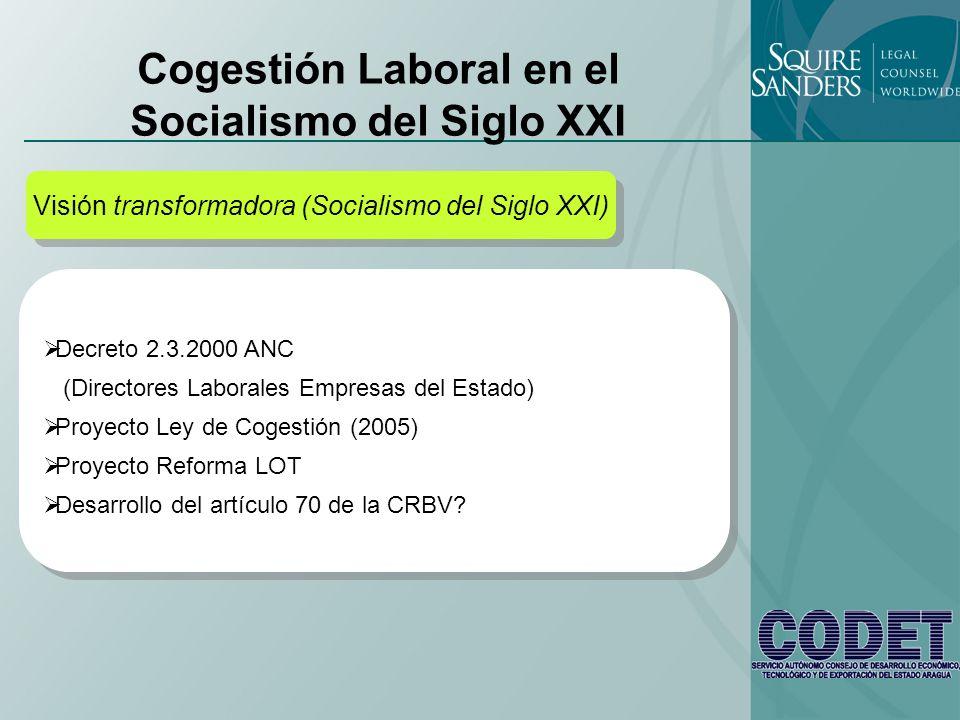 Cogestión Laboral en el Socialismo del Siglo XXI Visión transformadora (Socialismo del Siglo XXI) Decreto 2.3.2000 ANC (Directores Laborales Empresas