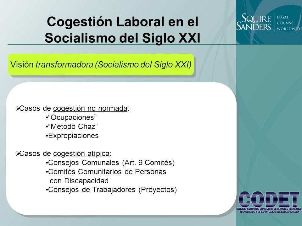 Cogestión Laboral en el Socialismo del Siglo XXI Visión transformadora (Socialismo del Siglo XXI) Casos de cogestión no normada: Ocupaciones Método Ch