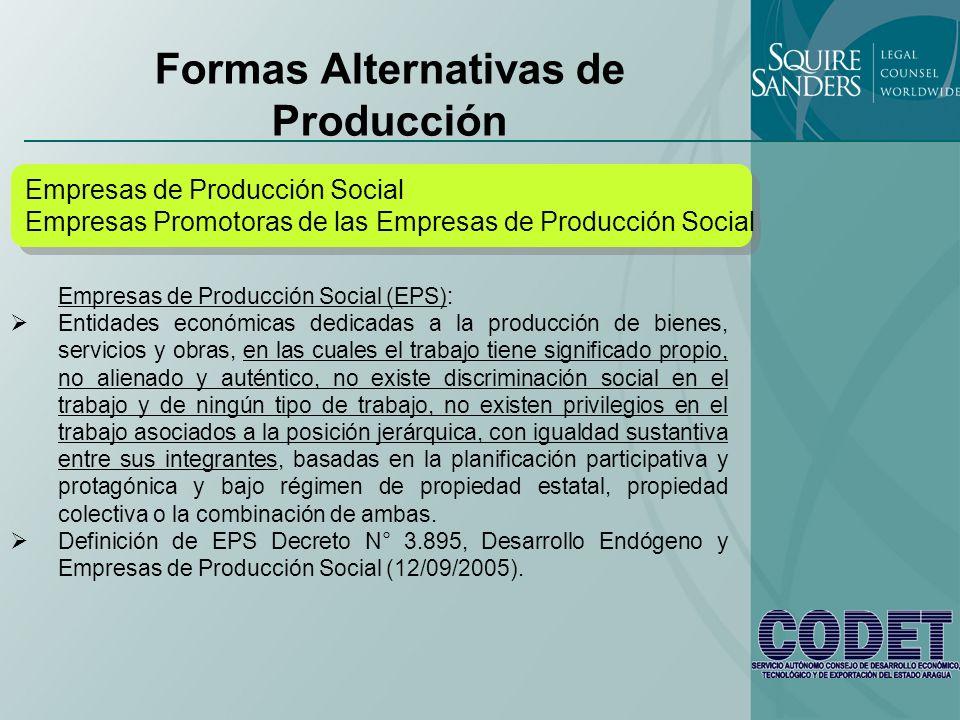 Formas Alternativas de Producción Empresas de Producción Social Empresas Promotoras de las Empresas de Producción Social Empresas de Producción Social Empresas Promotoras de las Empresas de Producción Social Empresas Promotoras de las Empresas de Producción Social (EPEPS): Entidades económicas dedicadas a la producción de bienes, servicios y obras, y quienes alineadas a las políticas del Estado participan voluntariamente en el programa de Empresas de Producción Social (EPS) (….), apalancando e incentivando la constitución, desarrollo y participación de las Empresas de Producción Social en las actividades económicas del país, asociadas a su proceso productivo, asumiendo las condiciones del compromiso social (…).