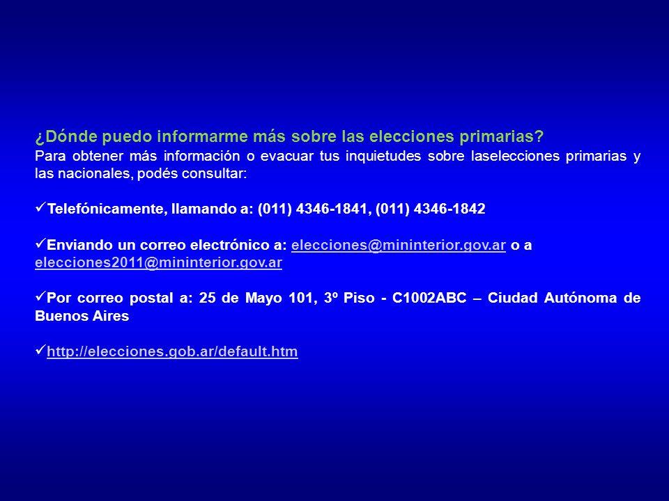 ¿Dónde puedo informarme más sobre las elecciones primarias.