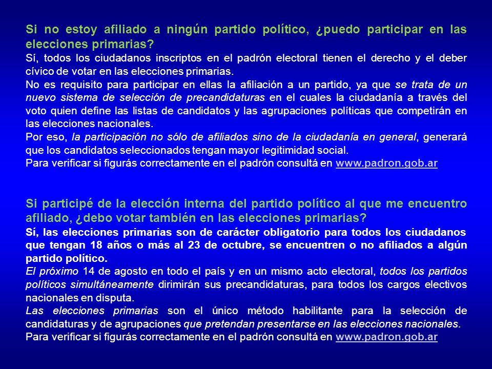¿Quiénes pueden presentar precandidaturas en las elecciones primarias.