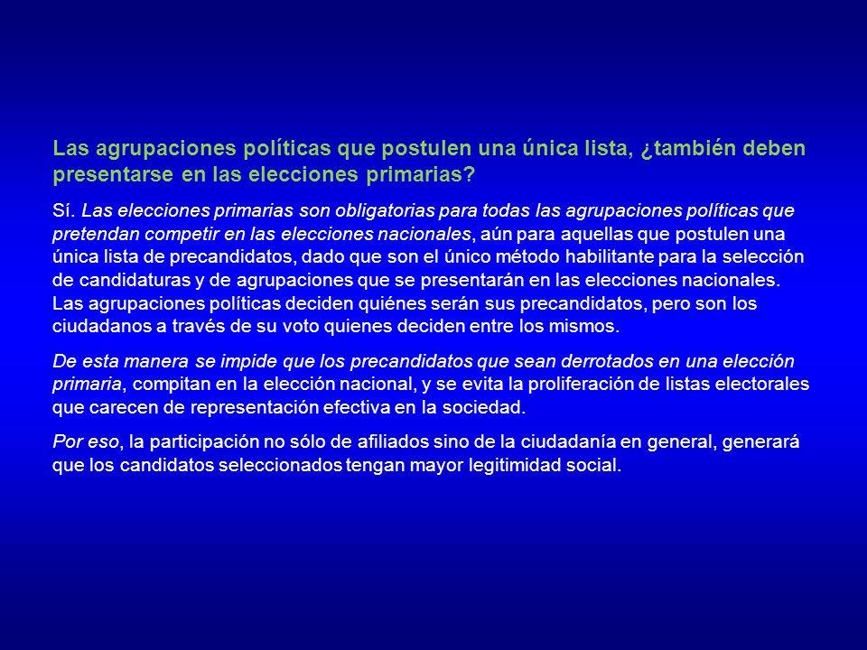 Las agrupaciones políticas que postulen una única lista, ¿también deben presentarse en las elecciones primarias.