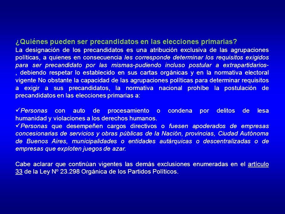 ¿Quiénes pueden ser precandidatos en las elecciones primarias.