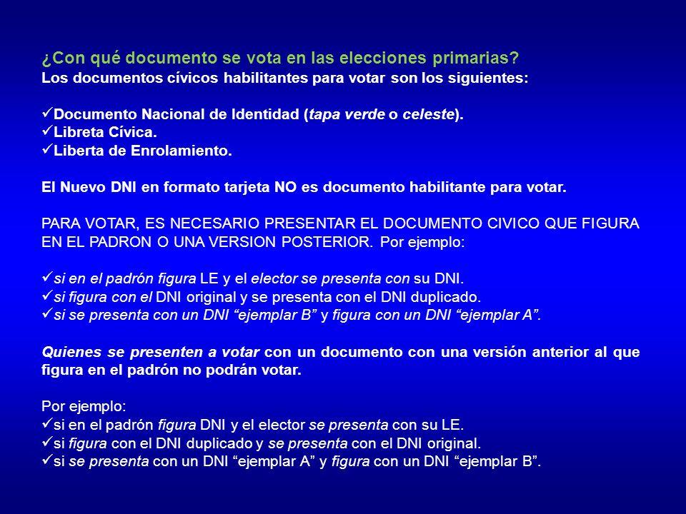 ¿Con qué documento se vota en las elecciones primarias.