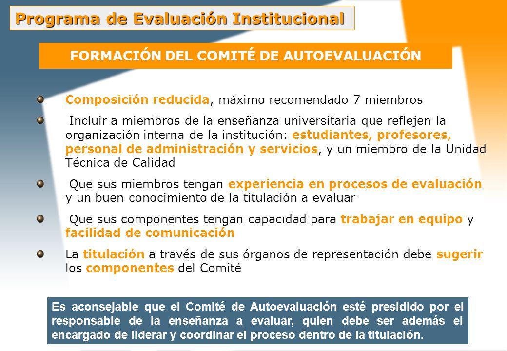 FUNCIONES DEL COMITÉ DE AUTOEVALUACIÓN Estudio individual de la guía de autoevaluación Elaboración del plan de trabajo Identificación y solicitud de la información relevante para el proceso Análisis de la información Favorecer la participación de la comunidad universitaria Elaboración del Informe de Autoevaluación Actuar como interlocutor con el equipo de evaluadores externos Elaboración del Plan de Mejoras Programa de Evaluación Institucional Funciones del comité de Evaluación