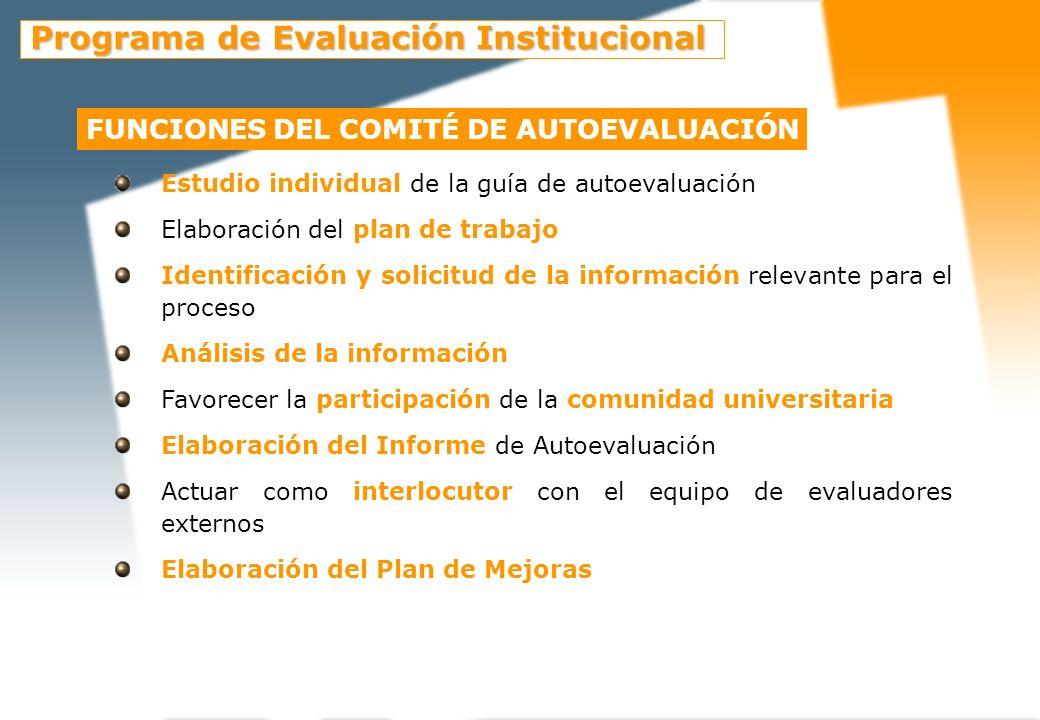 FUNCIONES DE LA UNIDAD DE EVALUACIÓN Y MEJORA DE LA CALIDAD Presentación de los objetivos, la planificación, la metodología, los responsables del proceso y los agentes implicados en la autoevaluación y la evaluación externa a la unidad evaluada.