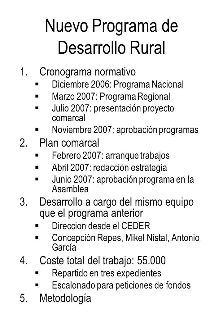 Programa comarcal: Metodología Información Análisis Diagnosis Estrategia Programa comarcal Mesas sectoriales Mesa Institucional Entrevistas Comité de Gestión Asamblea general